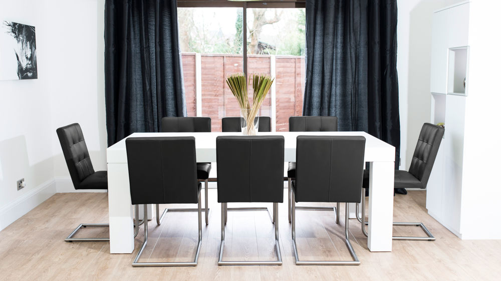 Black Real Leather Dining Chairs and White Dining Table