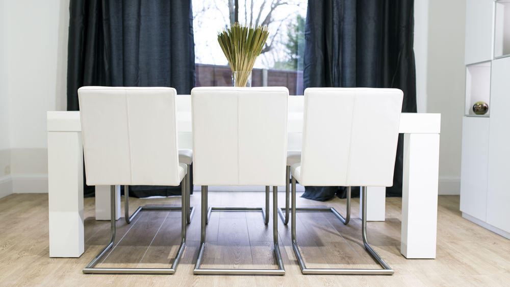 Contemporary Large White Dining Set