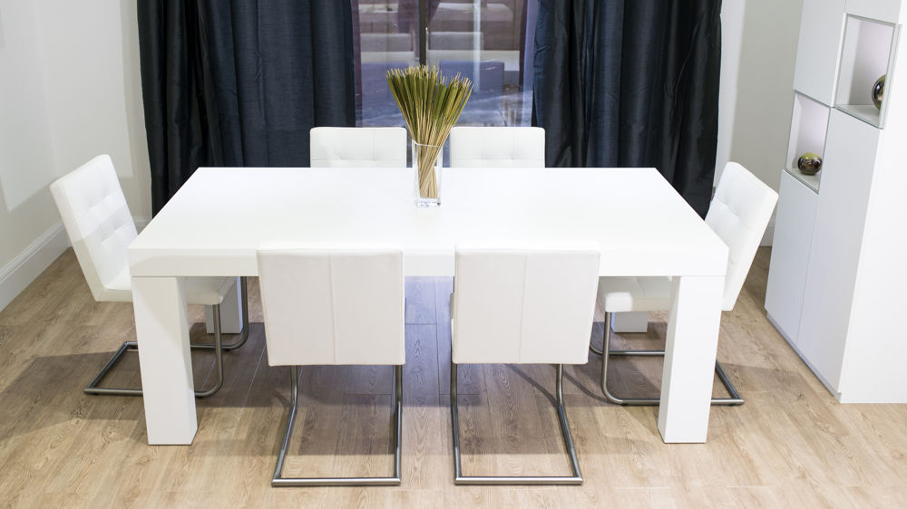 Cantilever Dining Chairs and Large White Wooden Dining Table