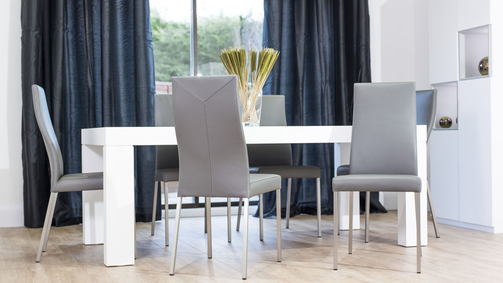 Comfortable Dining Chairs and Large White Oak Dining Table