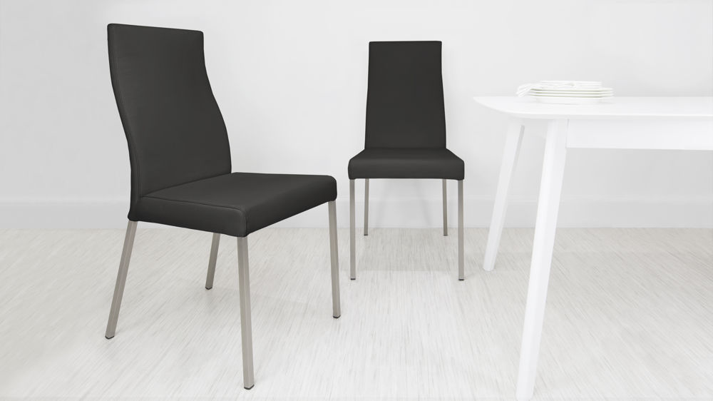 Modern Real Leather Dining Chairs with Brushed Metal Legs