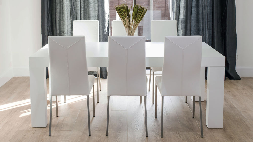 8 Seater White Oak Dining Table and Real Leather Dining Chairs