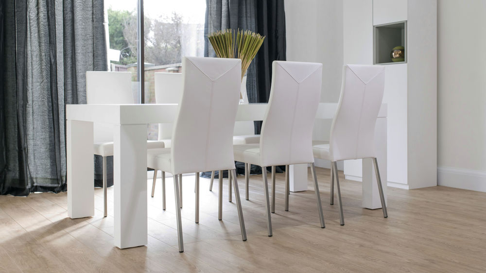 White Real Leather Dining Chairs and White Dining Table