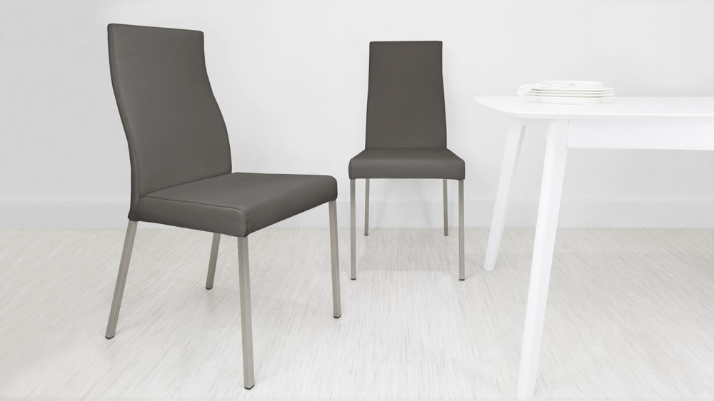 Dark Grey Real Leather Dining Chair