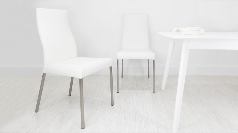 White Real Leather Dining Chair