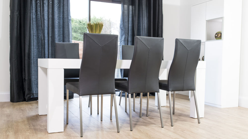 Large Dining Table with Real Leather Dining Chairs