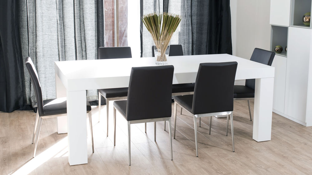 Modern Large Rectangular Dining Table and Black Dining Chairs