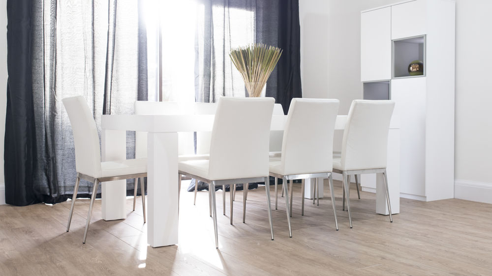 8 Seater White Dining Table and Stylish Leather Dining Chairs