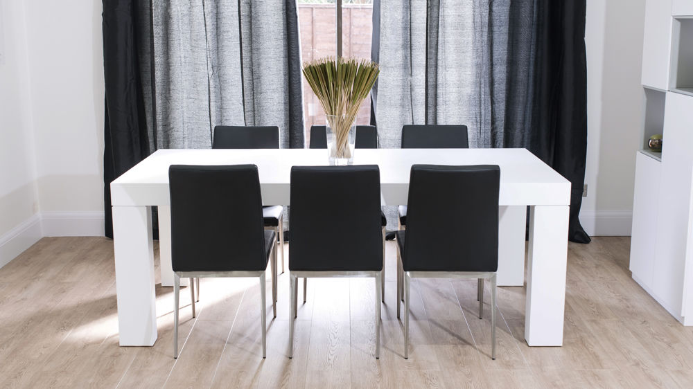 Modern Black Faux Leather and White Oak Dining Table