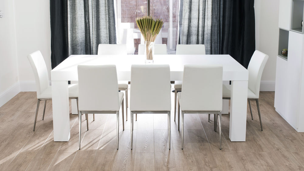 Modern Large White Dining Table and Chairs