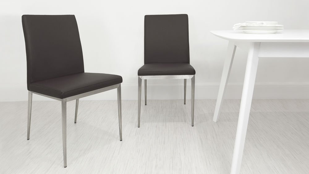 Cheap Brown and Brushed Metal Dining Chairs
