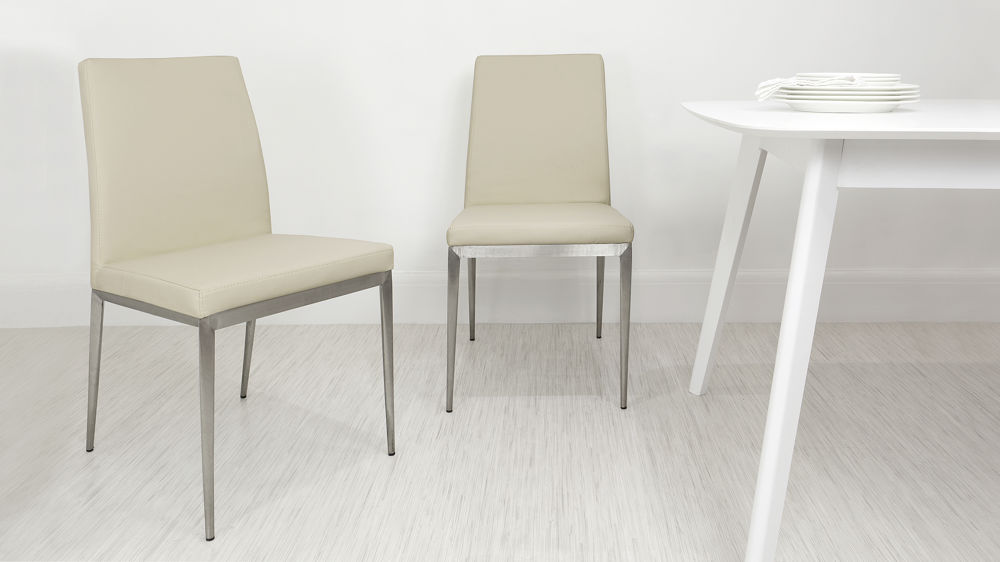 Cheap Beige and Brushed Metal Dining Chairs