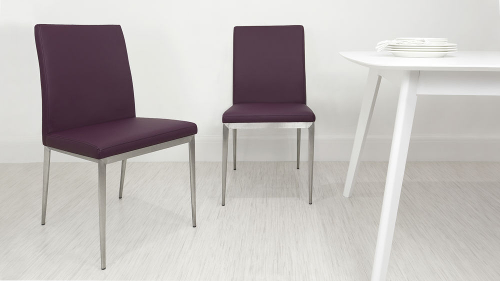 Cheap Purple and Brushed Metal Dining Chairs