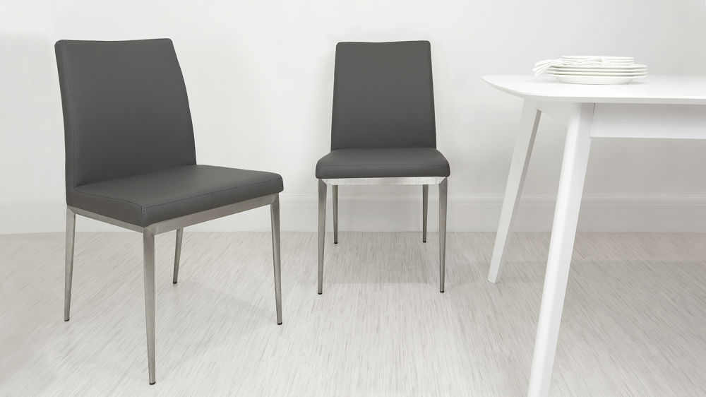 Cheap Grey and Brushed Metal Dining Chairs
