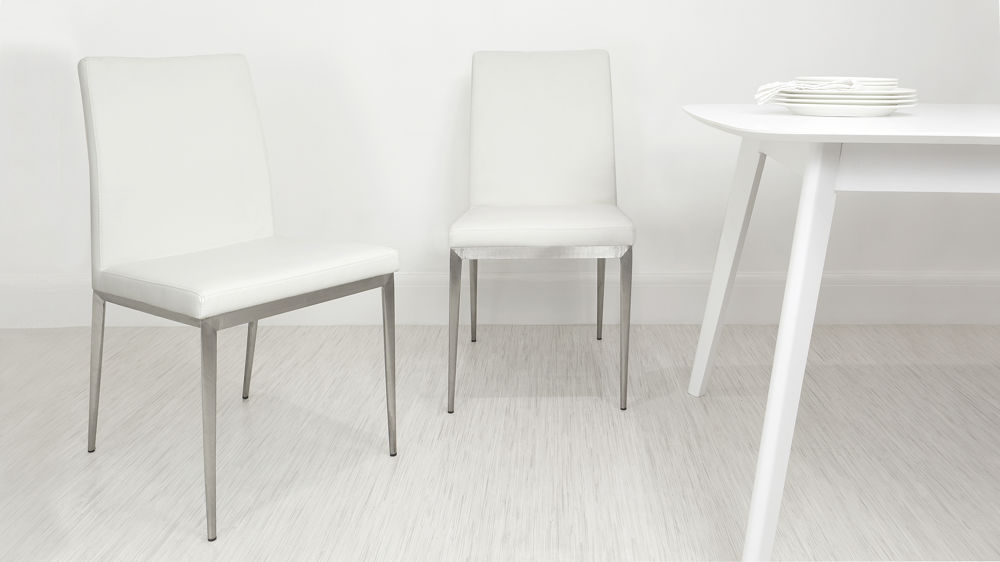 Cheap White and Brushed Metal Dining Chairs