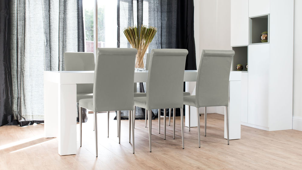 Light Grey and White 6 Seater Dining Set