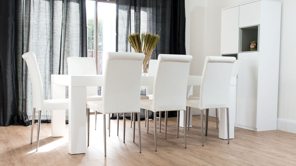 8 Seater White Dining Table and White Leather Dining Chairs