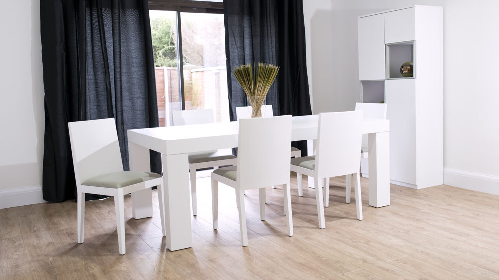 Modern White Oak Dining Set Seats 6 8 Chunky Table