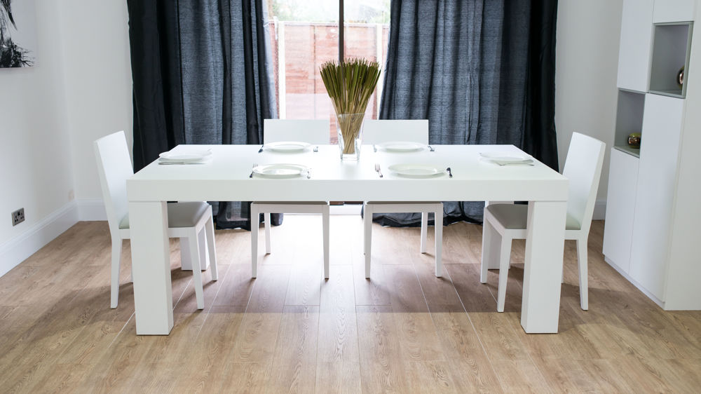 Modern White Oak Dining Set | Seats 6 - 8 | Chunky Table ...
