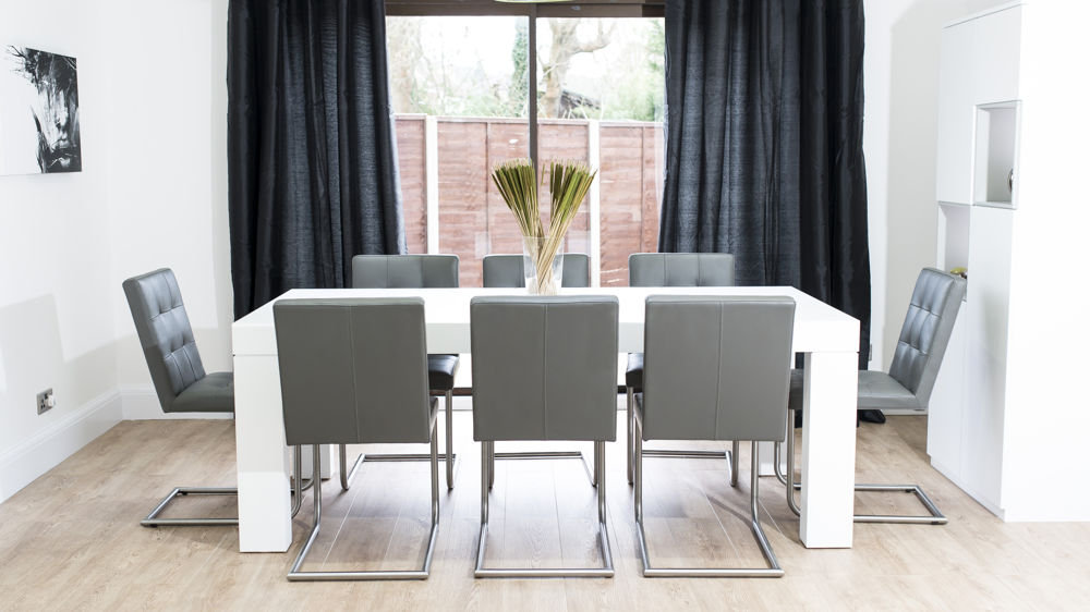 Modern Grey Real Leather Dining Chairs and White Dining Table