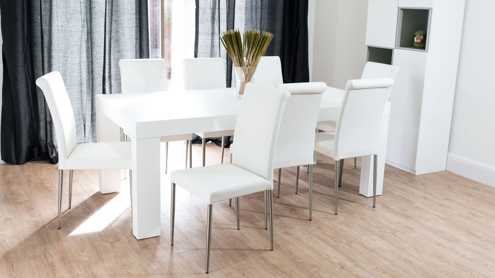 Contemporary Large White Dining Set with Real Leather Chairs