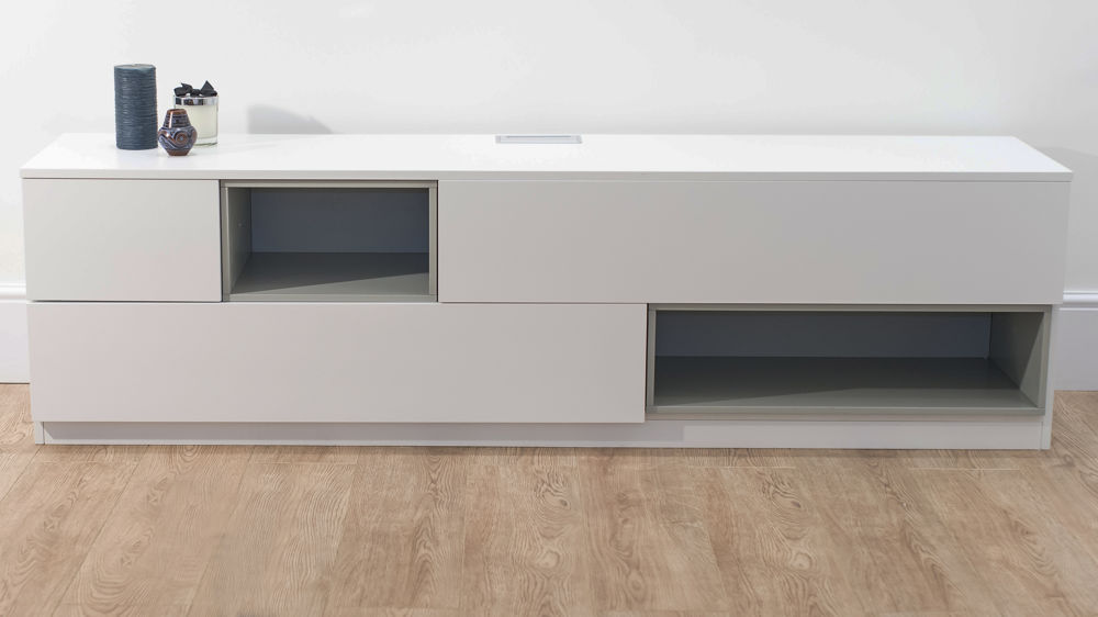 Contemporary White TV Unit with Storage and Display Sections