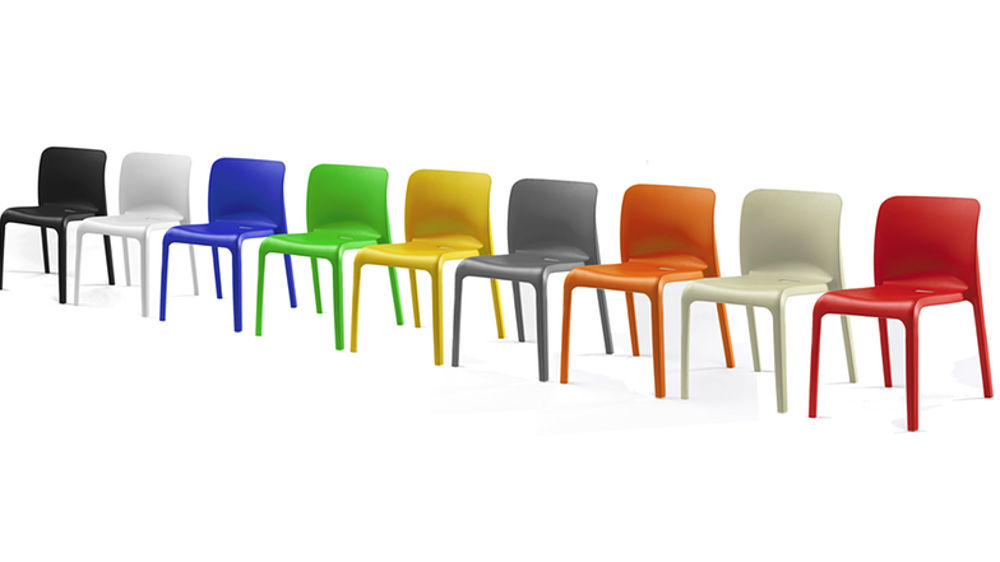 Multi- Coloured Dining Chairs  sc 1 st  Danetti & Funky hardwearing modern bright coloured plastic stackable chairs ... islam-shia.org