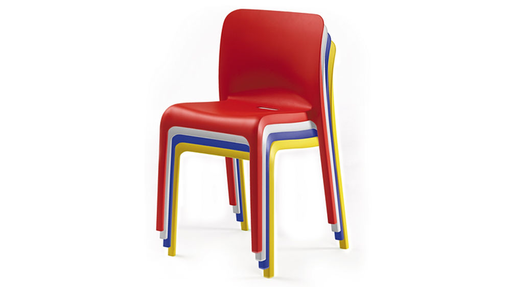 funky hardwearing modern bright coloured plastic stackable chairs