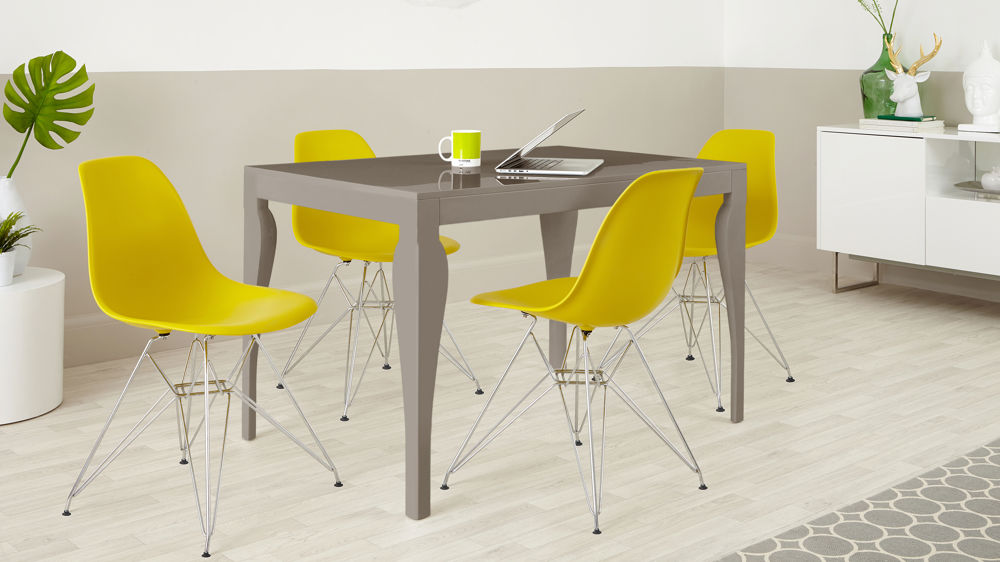 Modern Eva 4 Seater Taupe Grey Gloss Dining Table and Yellow Eames Moulded Wire Frame Dining Set
