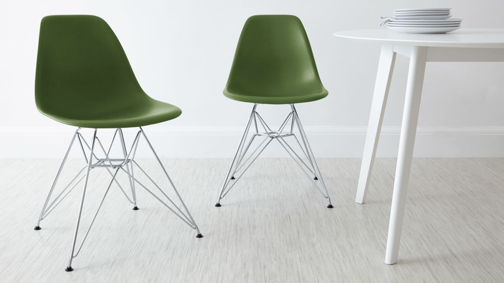 Olive Green Eames Moulded Wire Frame Dining Chair