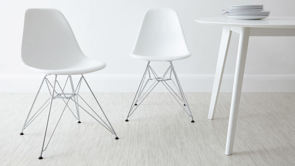 White Eames Moulded Wire Frame Dining Chair