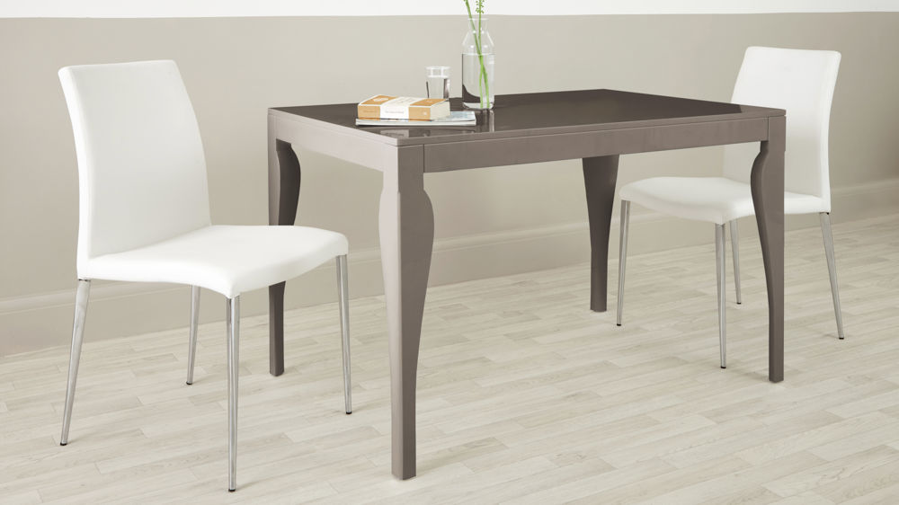 Modern Eva 4 Seater Taupe Grey Gloss Dining Table