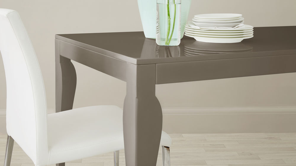 Modern Eva 4 Seater Taupe Grey Gloss Dining Table detail close up