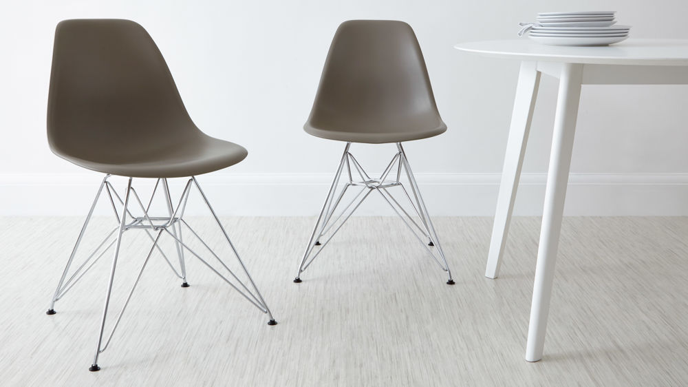 Taupe Eames Style Metal Dining Chairs