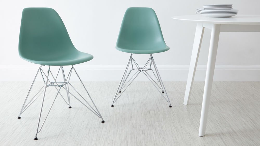 Light Green Eames Style Metal Dining Chairs