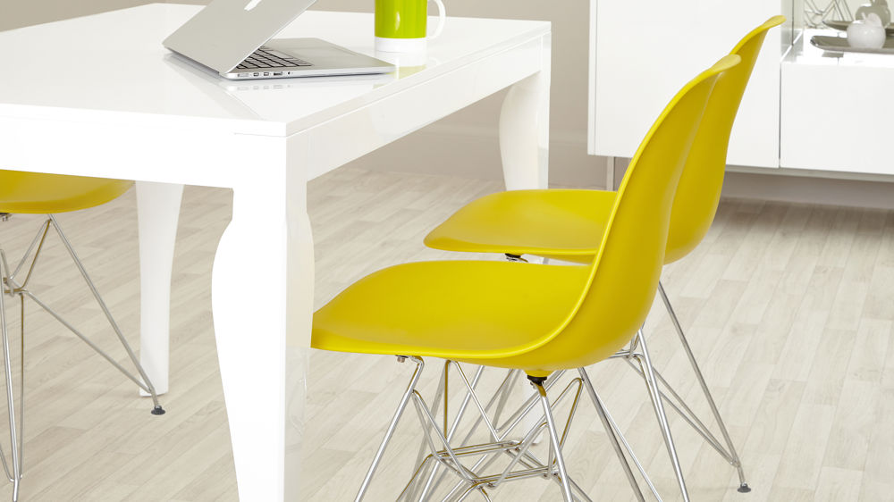 Yellow Eames Dining Chairs and White Gloss Dining Table