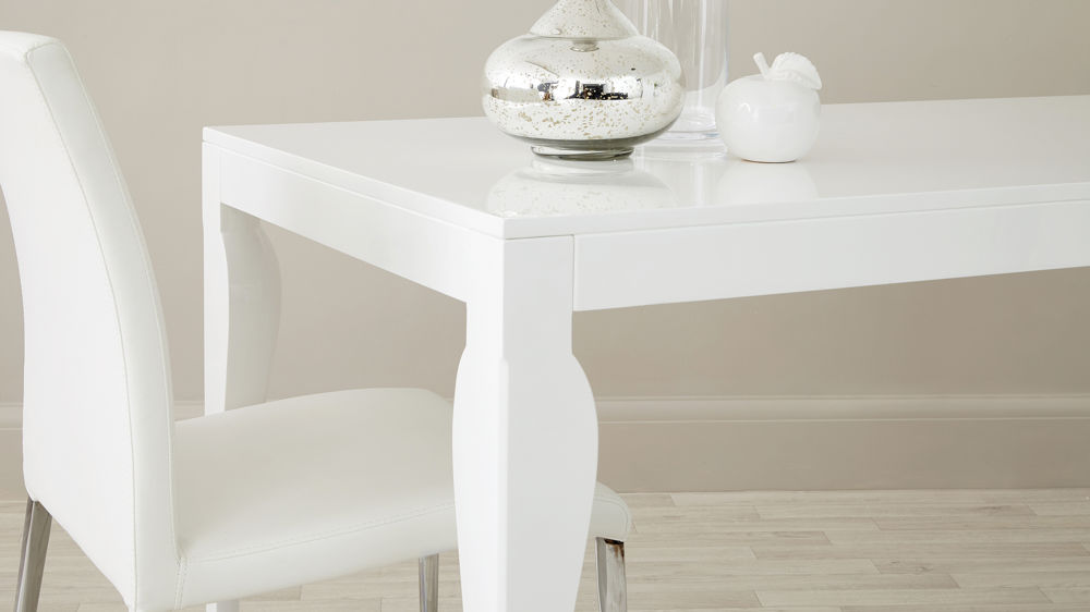 Curved Legged White Dining Table