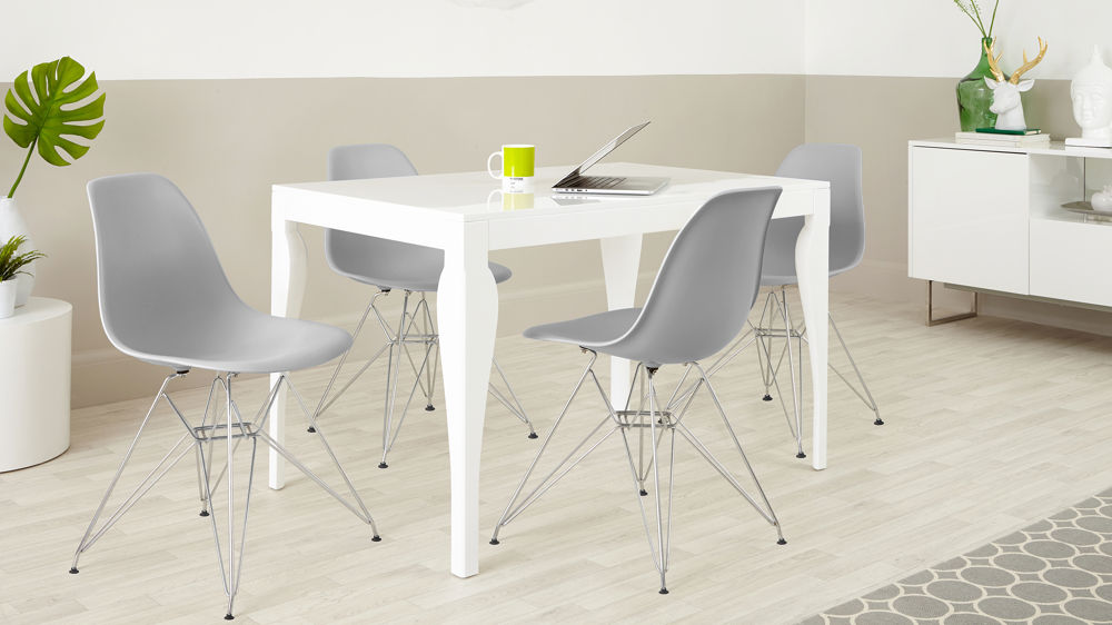Light Grey Eames Chairs and White Gloss Dining Table