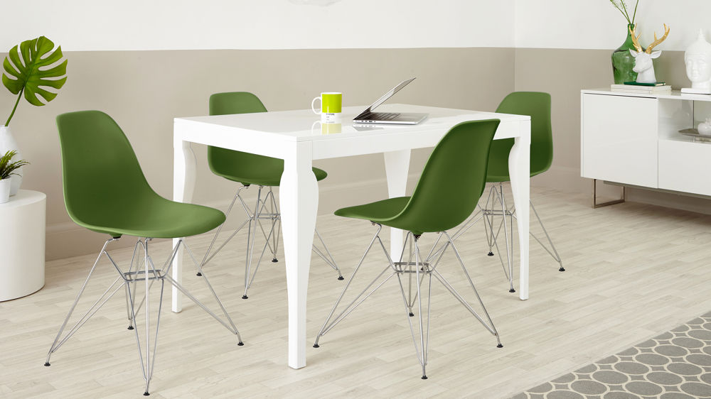 Green and White Eames Dining Set