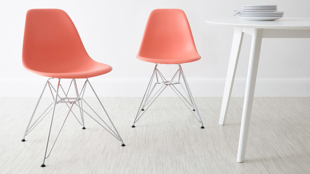 Pink Eames Style Metal Dining Chairs