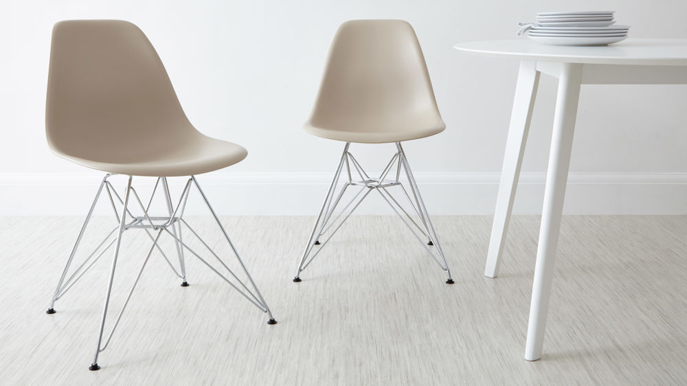 Beige Eames Style Metal Dining Chairs
