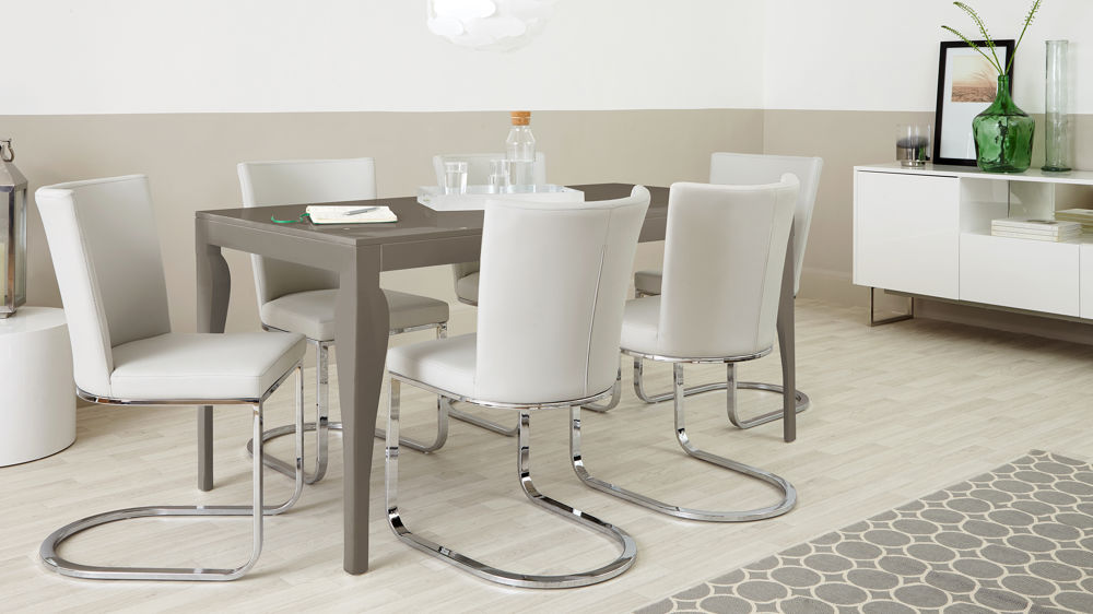 Modern 6 Seater Grey Gloss Dining Set