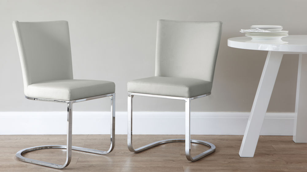 Light Grey Cantilever Dining Chairs
