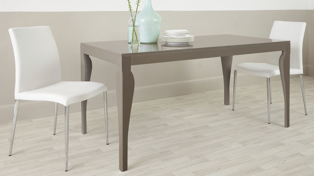 Large 6 Seater Grey Gloss Dining Table