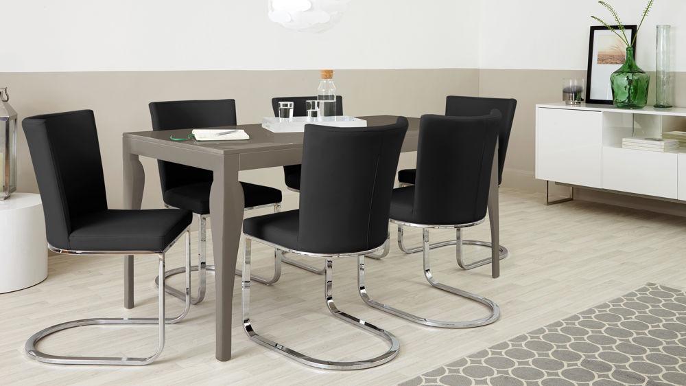 Black Dining Chairs and Glossy Table