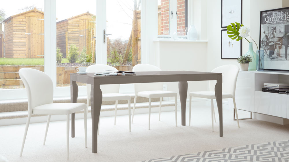 Large Grey Gloss Dining Table and Chairs in White