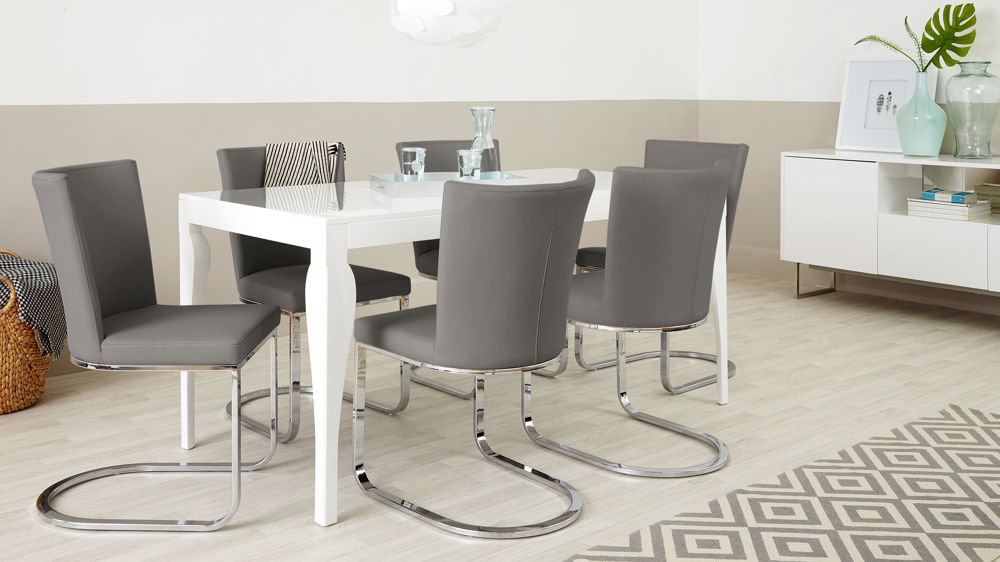 Contemporary Grey and White 6 Seater Dining Set