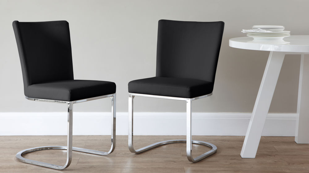 Modern Black Cantilever Dining Chairs
