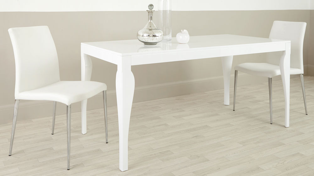 Modern 6 Seater Dining Table White Gloss Finish Uk
