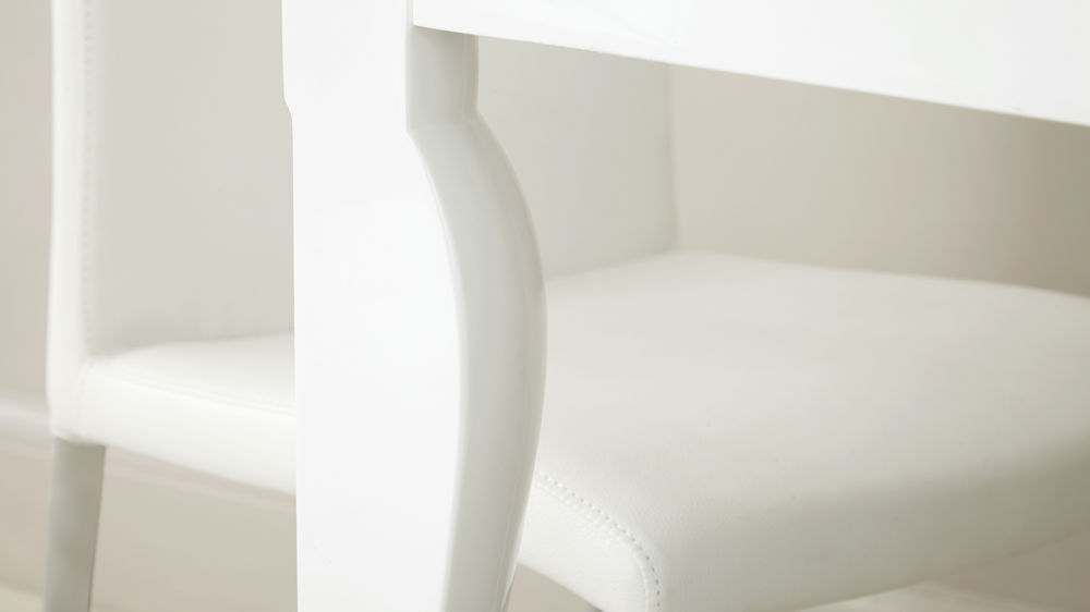 Curved Leg White Gloss Dining Table
